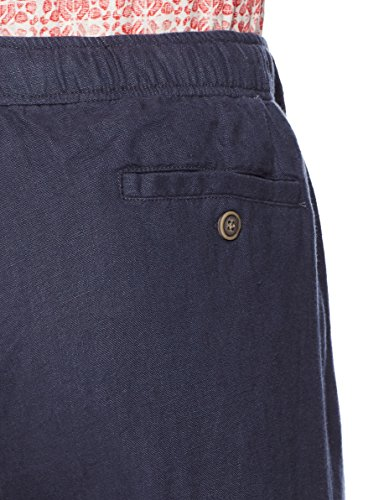 28 Palms Men's Relaxed-Fit Linen Pant with Drawstring, Blue Night, X-Large/32 Inseam