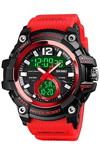 Herren Uhr Tactical Militär Uhren Analog Digitale Armbanduhr mit Wasserdicht/Stoßfest/Kalender Sportuhren für Jungen (Rot