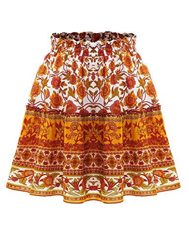 Bbonlinedress Damen Rock Röcke Sommerrock Minirock Kurz Röcke Skirts im Sommer B-Orange S