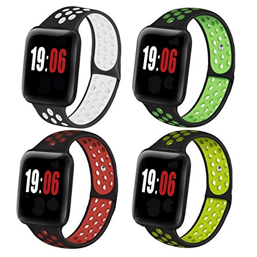 DGJTA (4 pieces) compatible with Apple Watch 38mm, 40mm, 42mm, 44mm strap, suitable for Apple series 6/5/4/3/2/1 / SE / Nike+ men's and women's sports watch strap 20mm/22mm, smart watch quick replacement, breathable, fashionable, trendy, lightweight and soft Silicone strap