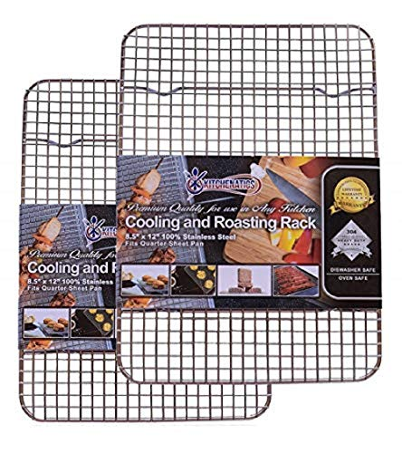 """Kitchenatics 100% Stainless Steel Cooling, Roasting and Baking Racks fit Small Quarter Sheet Pans - Heavy Duty, Wire Metal Racks, Oven, Grill & Dishwasher Safe for Cooking, BBQ (8.5"""" x 12"""" - SET OF 2)"""