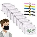 60PCS PM 2.5 Inserto de Filtro de carbón Activado 5 Capas Almohadilla de Papel de Filtro Anti-neblina reemplazable para niños y niñas, con Correa Ajustable para la Cara Gancho Extensor de Oreja