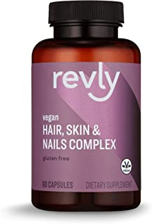 Amazon Brand - Revly Vegan Hair, Skin, & Nails Complex with Biotin 2000 mcg, 90 Capsules, 3 Month Supply