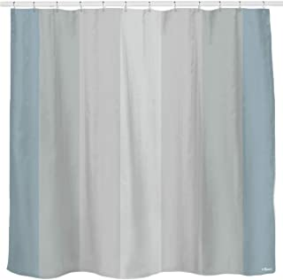 Sunlit Pale Blue Gray Vertical Stripes Water-Repellent Fabric Shower Curtain Set with Reinforced Metal Grommets and Rings Refreshing Striped Design Bathroom Decor