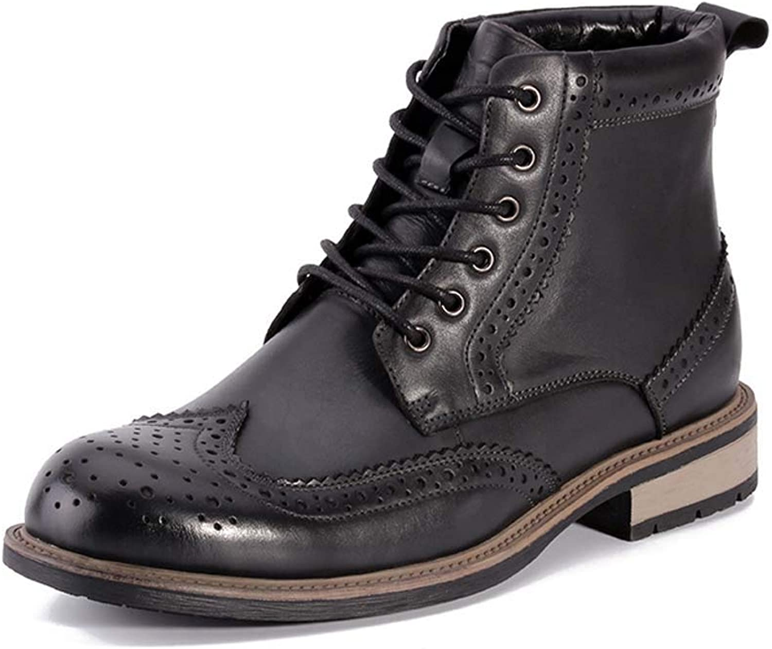 GLSHI Men Martin Boots Brogue Outdoor Leather shoes Casual High Top Boots