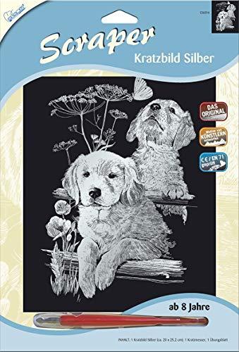 MAMMUT 136014 - Kratzbild, Motiv Labradors, silber, glänzend, Komplettset mit Kratzmesser und Übungsblatt, Scraper, Scratch, Kritzel, Kratzset für Kinder ab 8 Jahre
