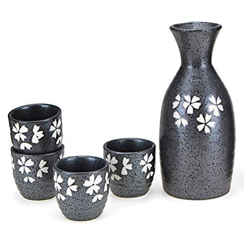 LLSL Juego de Sake de Flores de Cerezo de Estilo japonés, 5 PCS Cerámica Hip Flask Wine Tazas (350ml)