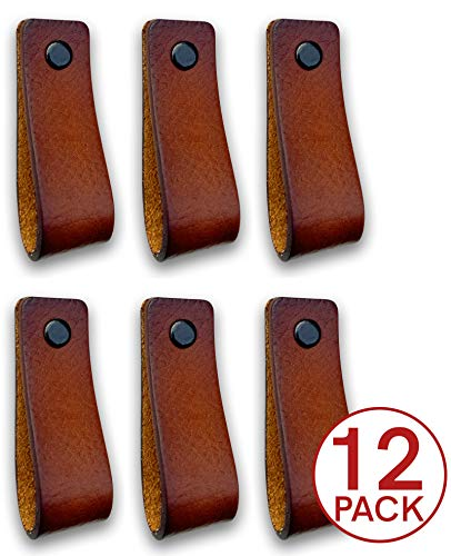 Lederen handgrepen meubels | Cognac - 12 stuks | 16,5 x 2,5 cm | Lederen handvat voor kasten, keuken en deur | Levering met schroeven in 3 kleuren