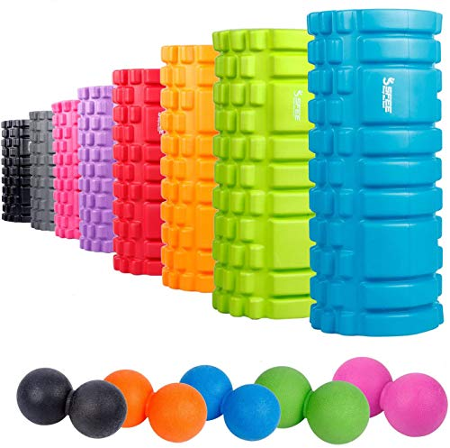 Sfee Foam Roller with Massage Ball-13'x5.5'EVA Muscles Roller Set for Physical Therapy&Exercise,Deep Tissue,Trigger Point Myofascial Release,Pain Relief,Crossfit,Yoga with Instruction+Carry Bag(Orange)