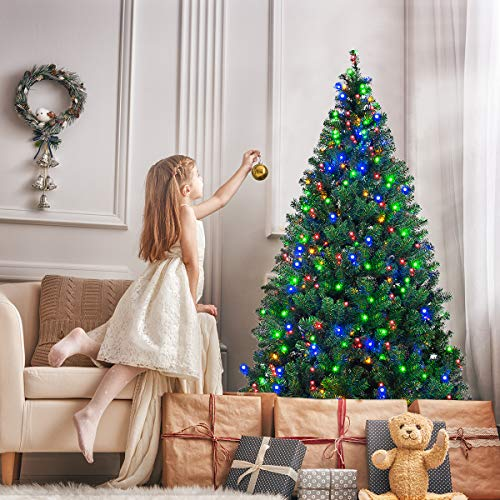 Goplus Artificial Christmas Tree Premium Spruce Hinged Tree with LED Lights and...