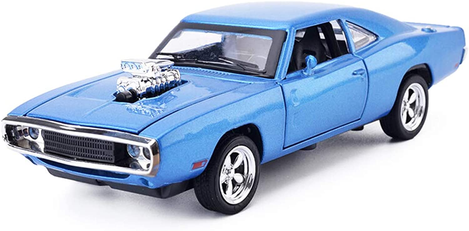 Djyyh Pull-Back Model Car Alloy Diecast Toy Vehicles with Lights,Sounds and Open-able Doors 1 32 Scale Dodge, bluee