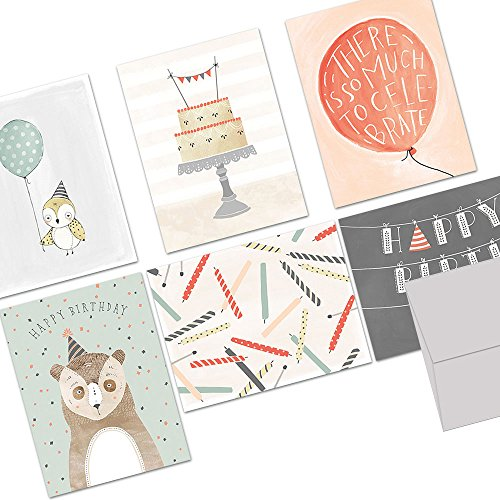 Note Card Cafe Happy Birthday Card Assortment with Gray Envelopes | 36 Pack | Fanciful Birthday Wishes Designs | Blank Inside, Glossy Finish | Bulk Set for Greeting Cards, Occasions, Birthdays