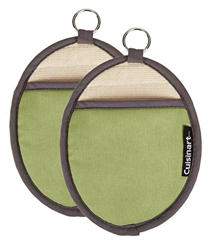Cuisinart Silicone Oval Pot Holders and Oven Mitts  Heat Resistant Handle Hot Oven/Cooking Items Safely  Soft Insulated Pockets NonSlip Grip and Convenient Hanging Loop  Green 2pk