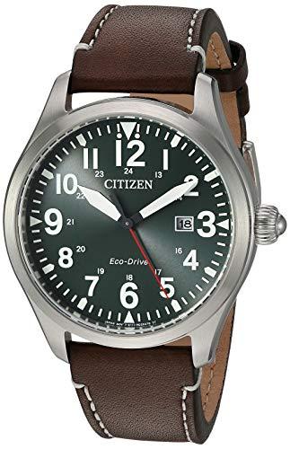 Citizen Men's Chandler Stainless Steel Quartz Watch with Leather Calfskin Strap, Brown, 21 (Model: BM6838-09X)
