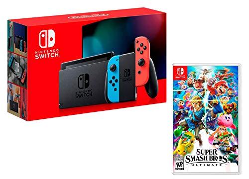 Nintendo Switch Rouge/Bleu Néon 32Go [nouveau modèle] + Super Smash Bros: Ultimate