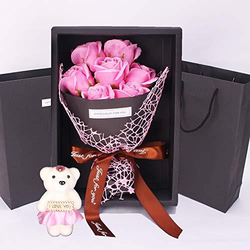 Flor de Jabón Caja de Regalo Rose Flores Artificiales Decoración para Bodas...