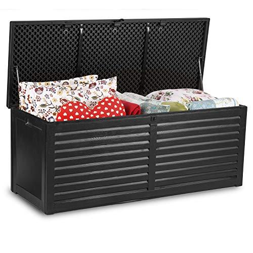 Auflagenbox Gartenbox Gartentruhe mit Sitzfunktion Kissenbox Gartenkiste 100% Wasserdicht 143x57x51cm 390 Liter