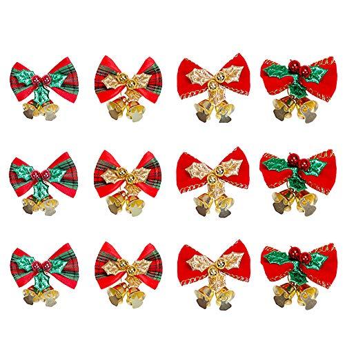 yeemeen 12PCS Velvet Small Christmas Ribbon Bows with Bells Mini Christmas Tree Decoration Bows Xmas Tree Wreaths Bowknot Tartan Bow Red Green Gold Xmas Ornaments 4.5x3cm