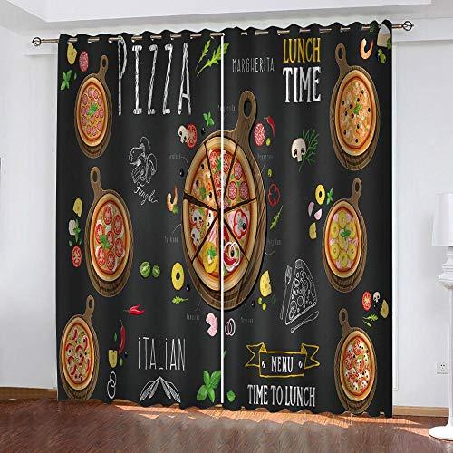 DWDDDEU® Verduisteringsgordijnen Kinderkamer voor jongens Meisjes Thermisch geïsoleerd 3D Restaurant heerlijke pizza Gordijngordijnen, doorvoertule, 2 panelen, 2x W33.5x L78inch kleuterschool Babyk