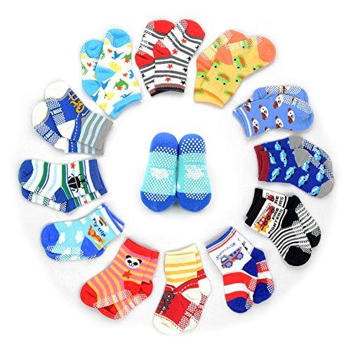 12 Pairs Anti-slip Socks Toddler Socks, HOVEOX Baby Socks Unisex 12-36 Months