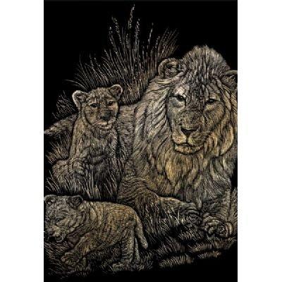 Royal & Langnickel Engraving Art Set Gold Foil Lion/Cubs
