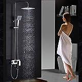 Gnailur Visualización recién digital 8'Faucet de ducha de lluvia Grifo de ducha de pared SPOUT SPOUT SPOUT Showing Shower Set con la válvula mezcladora de latón de ducha de mano