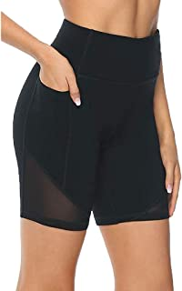 Workout Shorts,Womens High Waist Tummy Control Yoga Compression Shorts with Side Pocket