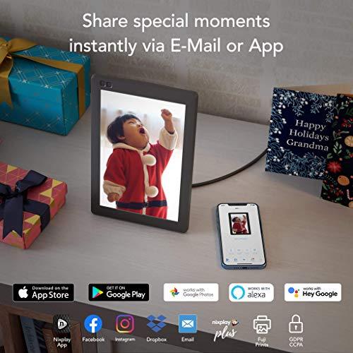NIXPLAY Seed Marco Digital Wi-Fi 10.1 Pulgadas. Muestra Fotos y Videos al Instante. Integración a Redes Sociales. Auto on/Off. Rotación automática