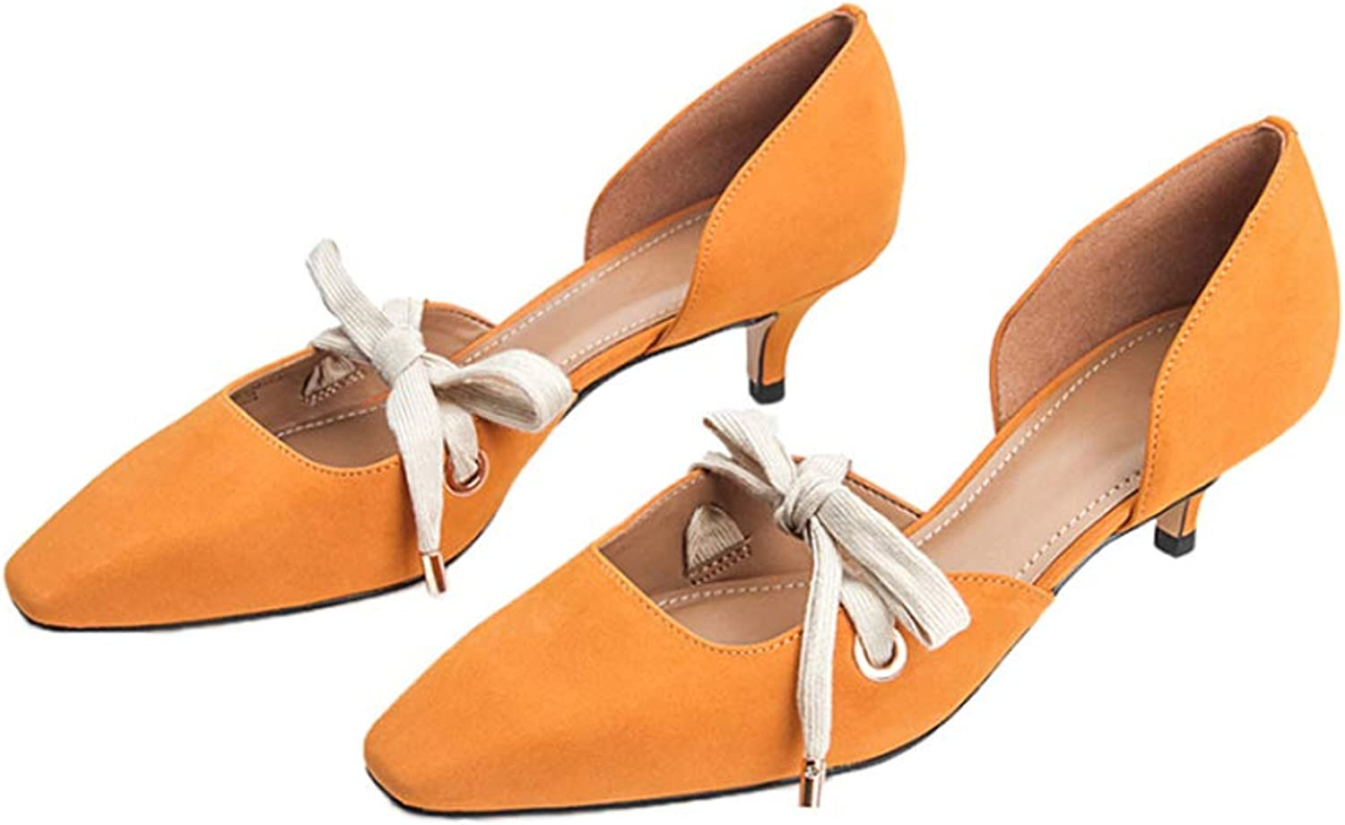 DBQWTY Ladies'Summer Low-Heeled Leather shoes Comfortable Walking Fashion Workplace Leather shoes