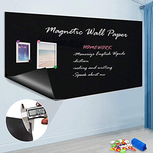 Self Adhesive Chalkboard Wall Sticker, Magnetic Receptive Blackboard Thick Contact Paper with Chalks, Peel and Stick Chalknetic Chalkboard Roll for School Office Home, 60 x 36 inches