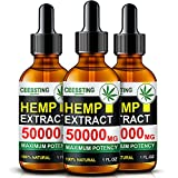 Envisha Hemp Oil - 50000mg of Organic Hemp Seed Extract - Rich in Vitamin & amp; Omega - 100% Natural Hemp Drops - Help Sleep