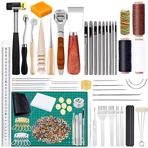 レザーツール レザークラフト 革細工 工具セット 皮革工具 手縫い 革工具セット レザー 縫製キット DIY 手作り裁縫 道具 レザークラフト スターターキット 簡易説明書付き