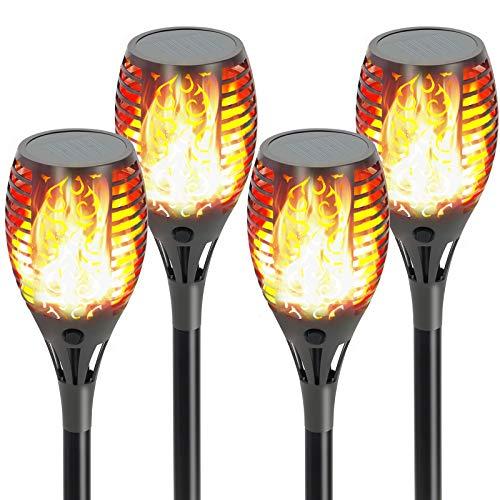 Todeco Llama Luz Solar de Exterior, Impermeables IP65 Parpadeo Solar Bailando Luces, Luz LED Exterior para Jardín Parque Patio Césped y Camino, Encendido/Apagado Automático (4 Piezas)