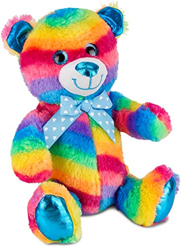 Brubaker Regenbogen Bär Plüschbär Kuschelteddy mit Glitzer-Augen 25 cm hoch Blau