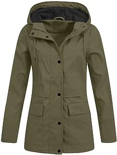 Women Casual Long Sleeve Solid Rain Jacket Outdoor Hoodie Waterproof Windproof Overcoat Lady Coat Outwear Overcoat Tops (S-5XL)