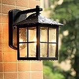 Mengjay Lámpara de pared Farol de pared de estilo rústico campestre,luz exterior antigua Iluminación de la terraza en forma clásica aplique de pared exterior E27 aplique IP23