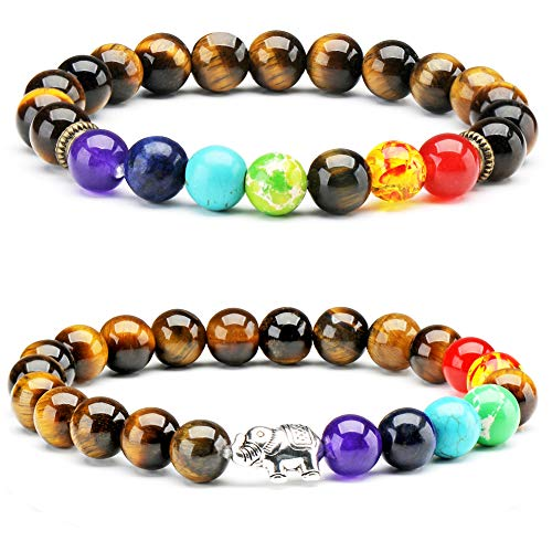 Senlinmu 2 x Tiger Eye Halbedelstein Armband 7 Chakra Yoga Balancing Reiki Heilung Elefant Glücksbringer Armband