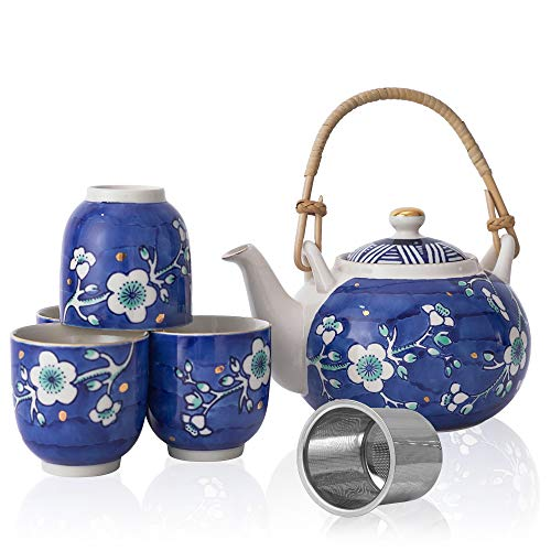 Taimei Teatime Blue Ceramic Tea Set, 25-oz Teapot with Infuser and 4 Tea Cup Set in Japanese Style with Handpainted Plum Blossom Pattern, Teapot Set Gift for Women