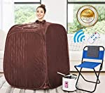 Himimi 2L Foldable Steam Sauna Portable Indoor Home Spa Weight Loss Detox with Chair Remote (Brown)