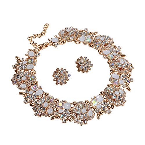 Statement Necklaces and Earrings Set with Rhinestone for Women Costume Prom Party Big Chunky Jewelry Sets