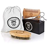 Smart Trim Beard Brush & Beard Comb Kit by All-Natural Handmade Set with Beautiful Cotton Travel Pouch | Sturdy Boar Bristles for Facial Hair Grooming