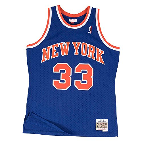 Mitchell & Ness Patrick Ewing New York Knicks NBA Throwback HWC Jersey - Blue (X-Large)
