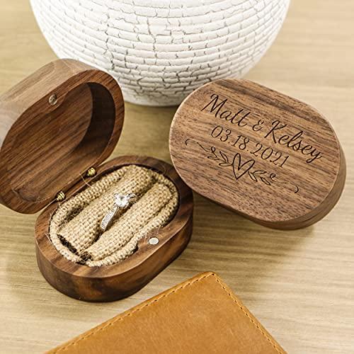 Boîte Ovale En Bois Personnalisable Pour Alliances Ou Bagues De Fiançailles - Noyer - Cadeau Danniversaire De Mariage Pour Femme