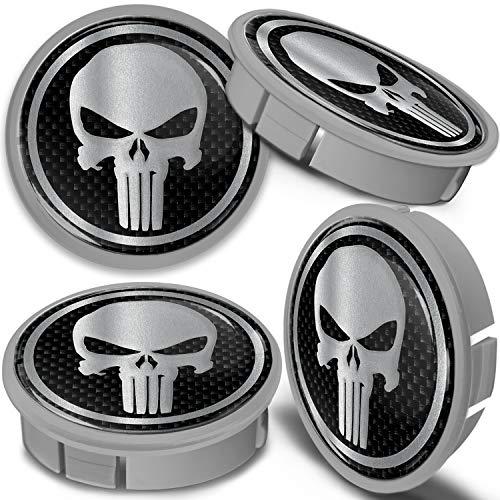 SkinoEu 4 x 60mm Tapas de Rueda de Aleación Centro Centrales Tapacubos para Llantas Coche Tuning Negro Plata Gris Cráneo CXS 10