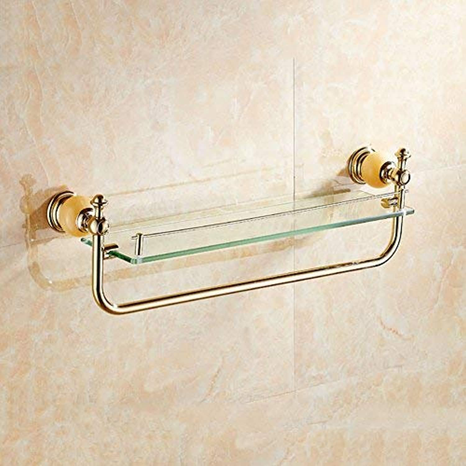 BAIF Bathroom Shelf Copper+Topaz Material 6mm Tempered Glass golden Easy to Clean