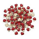 PPuujia 100 colgantes con forma de corazón pequeños de aleación esmaltada colgantes...