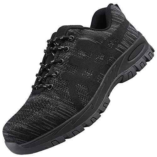 UCAYALI Chaussures de Sécurité Homme Légère Souple Antidérapante Chaussures de Travail ESD Fashion Baskets Securite Confortable Embout en Acier Chaussure (022 Noir, 46 EU/280)