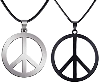 Mucers 2 Pack Hippie Style Peace Sign Necklace Hippie Party Dressing Accessories