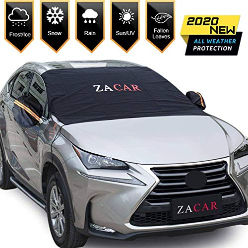Windshield Snow Cover (Non-Scratch), ZACAR Windshield Cover with Mirror Covers for Ice and Snow, Blocking Snow, Sun, Fallen Leaves, Bird droppings. Fits Most Vehicle, Easy to Install