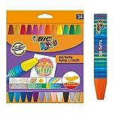 BIC Kids Oil Pastels Ceras Blandas - colores Surtidos, Blíster de 24 unidades